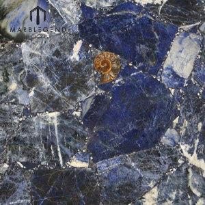 Luxurious Top Grade Dark Royal Sodalite Blue Stone Quartz Tiles