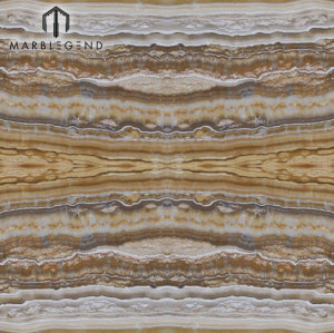 El panel de losa de losas de Onyx Bookmatched para el revestimiento de la pared del hotel Empire Gold Onyx