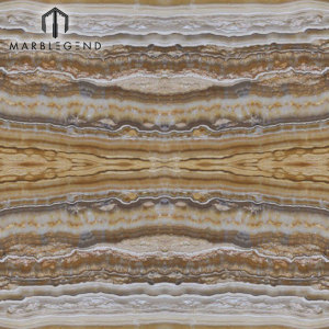 Bookmatched Onyx Tiles Slab Panel For Hotel Wall Cladding Empire Gold Onyx