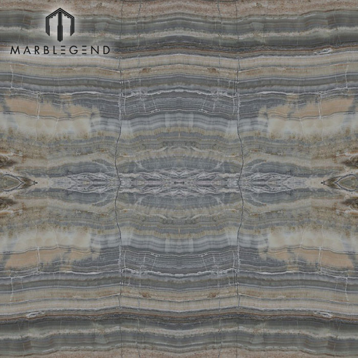 PFM Stone Bookmatched Grey Onyx Marble Slab For Wall Cladding Floor Covering