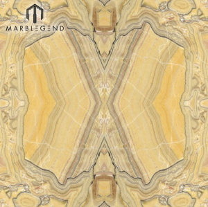 Bookmatched Wood Veins Savana Onyx Slab Yellow Onyx Mármol Precio