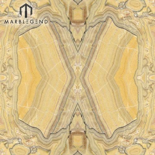 Bookmatched Wood Veins Savana Onyx Slab Yellow Onyx Mármol Precio