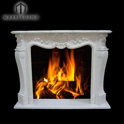 New Style Indoor Natural Stone Wood Burning Stove Fireplace surround Mantel