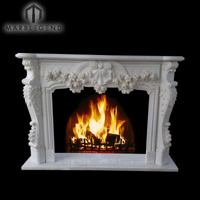Custom Design Impressive Carved Louis LV Style Marble Fireplace Surround Mantel