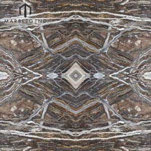 Venas Bookmatched Traveronyx Macchia Aperta Brown Onyx Slab Pared destacada