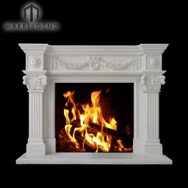 Diseño personalizado de estilo europeo de piedra natural talla de chimenea chimenea de mármol