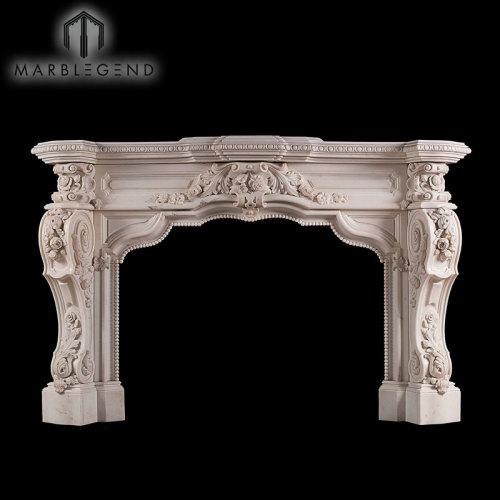 Diseño personalizado tallado a mano flor de mármol chimenea de sonido envolvente