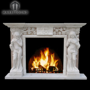 Hand Sexy Nude Women Carved Sculpture Marble Stone Fireplace Mantel