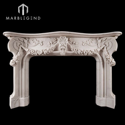 Hand Carved Sculpture Natural Marble Stone Fireplace Mantel Surround