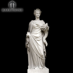 Western Style Garden Statue Venus White Marble Sculpture With Flowers