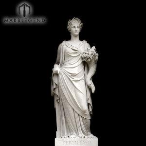 تمثال حديقة على الطراز الغربي فينوس نحت الرخام الأبيض مع الزهور
