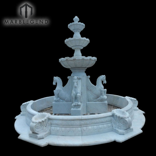 Hand Carved Horse Statue Outdoor Garden Stone Marble Fountain