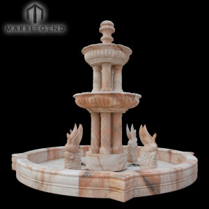 Custom Hand Carved Statue Marble Water Fountain With Column