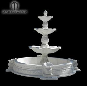 Fuente de mármol natural hecha a mano durable grande del jardín de la piedra natural