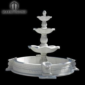 Прочный природный камень ручной работы Большой открытый сад Мраморный фонтан