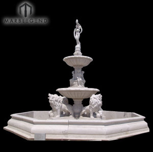 Custom Size Antique 3 Tier Lion Statue Water Marble Fountain