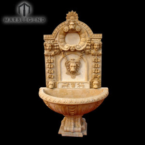 Hand Carved French Style Indoor Lion Head Marble Wall Fountain
