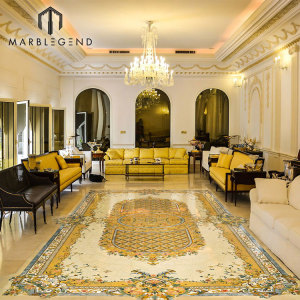 Rectangle Waterjet Waterjet Medallion Lobby Marble Floor Waterjet Patterns