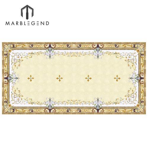 Medallón de chorro de agua de mármol rectangular de lujo para diseño de piso de lobby