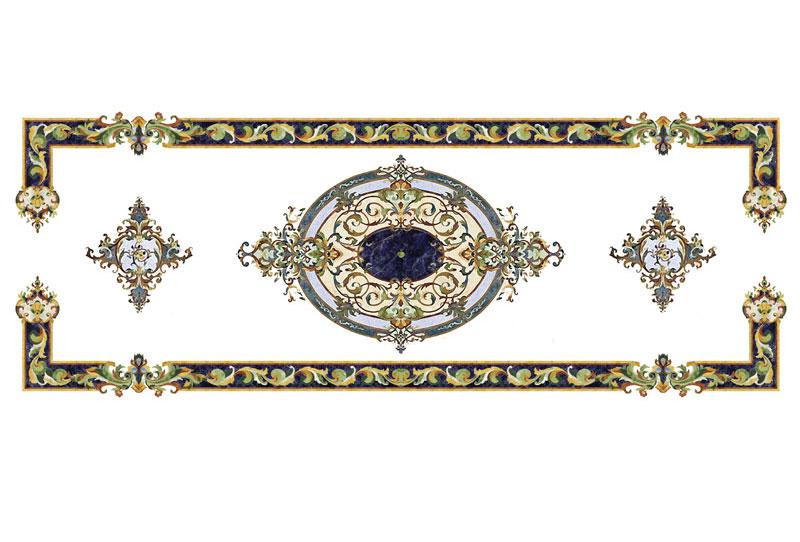 Custom Design Rectangle Style Marble Waterjet Floor