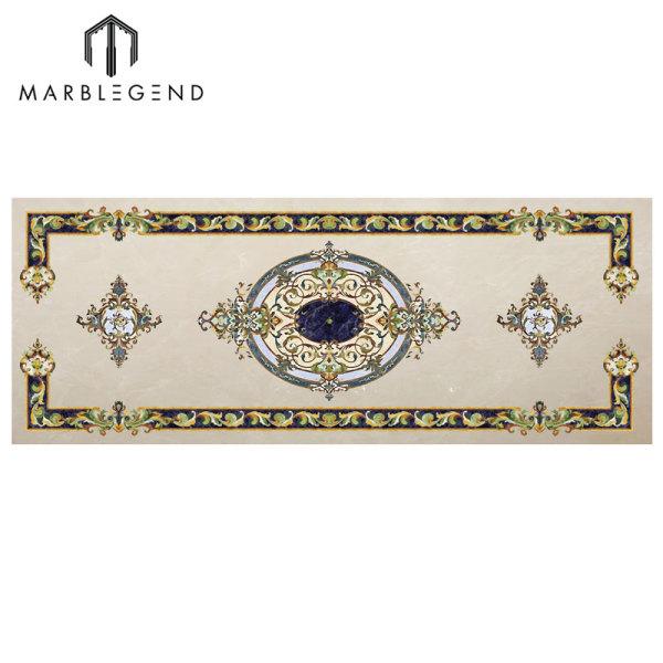 Diseño personalizado Rectangle Style Marble Waterjet Floor Medallion Tile