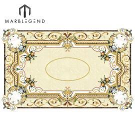 Diseño personalizado Rectangle Medallion Waterjet Mármol Inlay Diseño de suelos