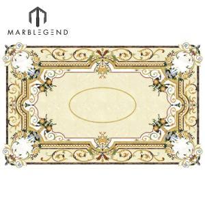 Дизайн на заказ Rectangle Medallion Waterjet Marble Inlay Flooring Design