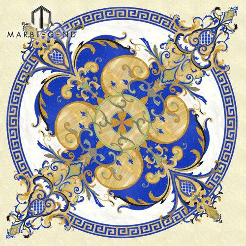 Custom Majlis Design Round Waterjet Blue Marble Medallón Azulejo Lowes