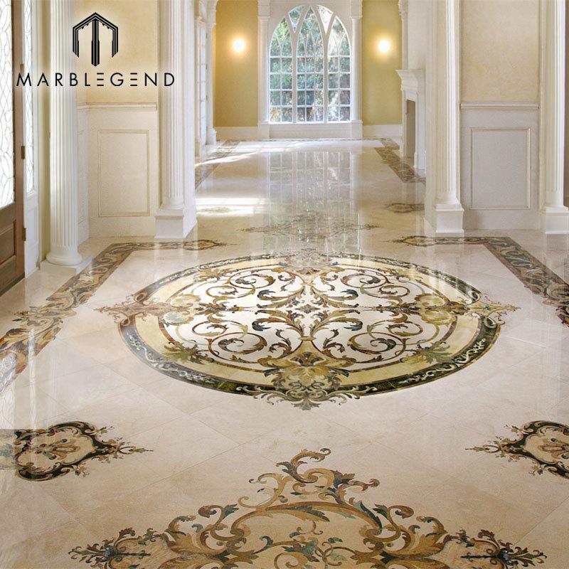 Custom Marble Floor Pattern Design Round Waterjet