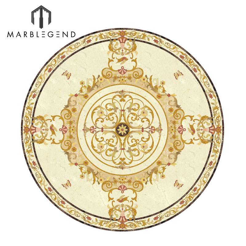 Circular Marble Inlay Flooring : Polished waterjet classical round floor medallion design