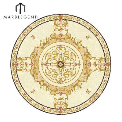 مصقول Waterjet الكلاسيكية الجولة الطابق ميدالية تصميم رخام البطانة