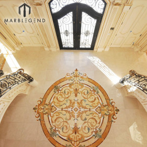 Custom Waterjet Round Floor Medallion Design mármol árabe Majlis embutido