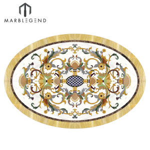 Foyer Floor Luxury Pattern Waterjet Oval Medallion Marble Inlay