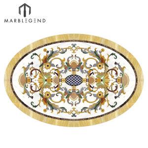 Foyer Floor Luxury Pattern Waterjet Oval Medallion Marble Inlay