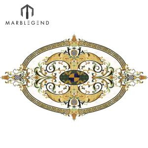 PFM Bianco Carrara Waterjet Tile Marble Floor Oval Medallion