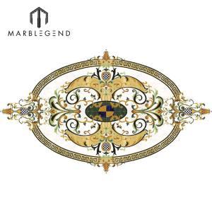 PFM Bianco Carrara Waterjet Tile Marble Floor Oval Medallion