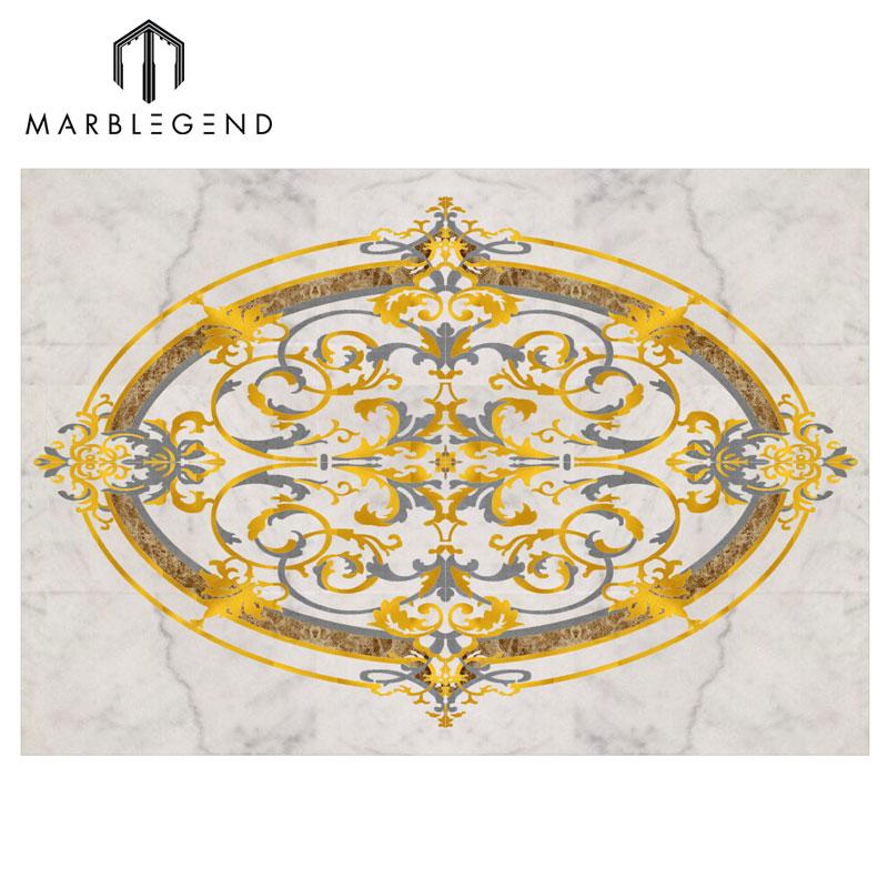 Custom Rocky Waterjet Marble Oval Medallion Floor Tile