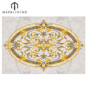 Custom Rocky Waterjet Marble Oval Medallion Floor Tile Design