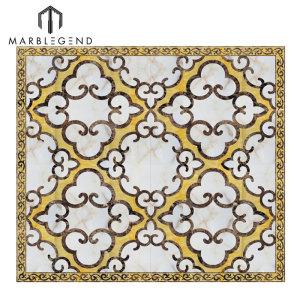Azulejos de mármol del azulejo de Waterjet del diseño de suelo moderno de encargo
