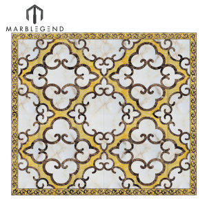 Custom Modern Marble Flooring Design Waterjet Medallion Tiles