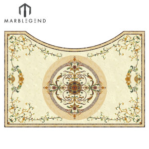 Irregular Marble Inlay Flooring Design Waterjet Medallion Tile