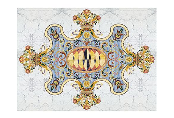 PFM Waterjet Blue Medallion Majlis Marble Flooring Design   PFM