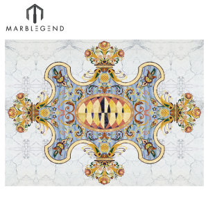 PFM Waterjet Blue Medallion Majlis Marble Flooring Design