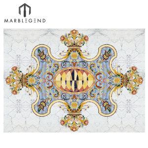 PFM Waterjet Blue Medallion Majlis Marble Flooring Design
