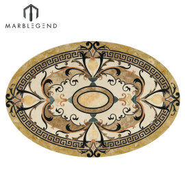 Medallón de pisos de chorro de agua de mármol oval de Caspia de patrón elegante