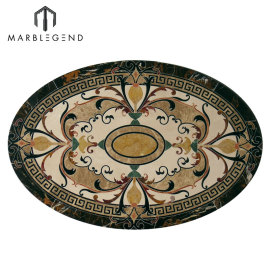 PFM Caspia oval mármol Waterjet piso medallón azulejo diseño