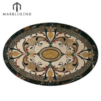 PFM Caspia Oval Marble Waterjet Floor Medallion Tile Design