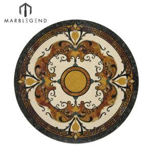 Diseño de azulejo de piso medallón de chorro de agua de mármol redondo de alta calidad de Caspia
