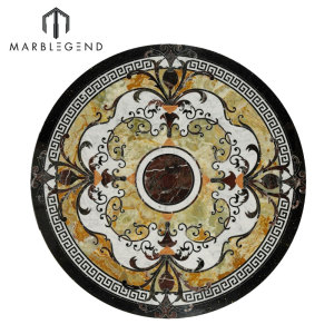 High End Caspia Round Marble Inlay Waterjet Medallion Floor Design