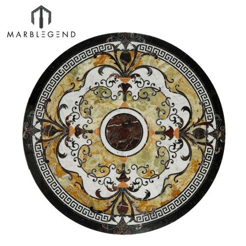 Diseño de piso medallón de chorro de agua con incrustaciones de mármol redondo de alta gama Caspia